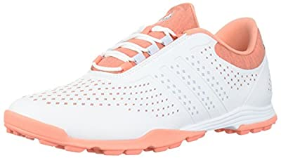 adidas Women's Adipure Sport Golf Shoe, White/Aero Blue/Chalk Coral, 6 Medium US