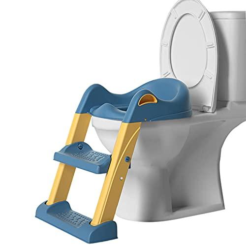 bluesa Adaptador WC Niños con Escalera Asiento De Inodoro para Niños, Asiento Aseo Escalera Bebe Plegable, para Orinal Infantil Formación Seguro Antideslizante