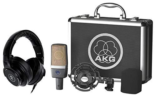 AKG C214 Studio Condenser Microphone Recording Mic Bundle with Mackie Monitoring Headphones