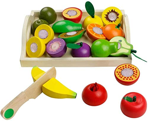 Wooden Play Food Toys Fake Food Cutting Set Play Kitchen Accessories Fruit Vegetable Kid Pretend Role Play Party Game Shape Sorting Montessori Toys for Toddlers Boy Girl 3+ Years Old Birthday Gift