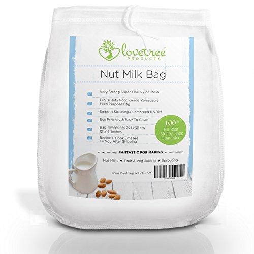 Productos Love Tree bolsa para leche de nueces - El mejor colador orgánico de leche de almendras con calidad premium que incluye un E book de recetas gratuito - Bolsa de malla de grande, reusable y fuerte - Leches de nueces y jugos suaves siempre con garantía sin riesgo de 100% devolución de su dinero. Medidas 10x12 pulgadas.