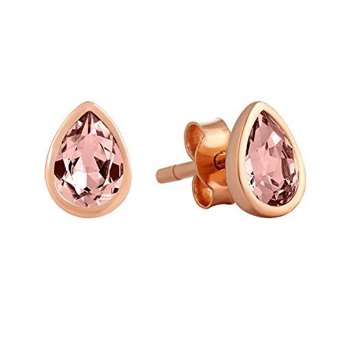 Pendientes de tuerca de gota rosa dorada, Latón Chapado en oro. Cristal, Crystal cuarzo rosa rodocrosita,