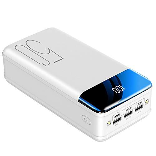 Batería Externa 50000Mah Power Bank USB C Rápido Cargador Portátil Móvil Ultra Alta Capacidad con Pantalla LCD Digital Y Luces LED, con 3 Salidas Y 3 Entradas para Phones Tabletas Y Más,Blanco