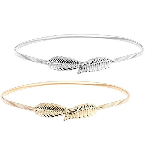 Ouinne 2 Pezzi Foglia Cinture da Donna Eleganti Donna Elastica Decorativa in Vita Alta Metallo Cintura (Oro e Argento)