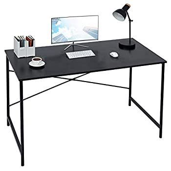 Coavas 47 inch Computer Desk Large Study Desk Simple Writing Table Workstation for Home Black Wood Tabletop with Black Frame