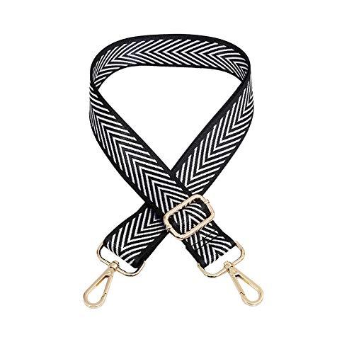 Umily Gold/Silber Schwarz Farbe Metall Handtaschengurt Ersatz Multicolor Canvas Crossbody Gurt für Handtaschen 80-140cm Länge, 3,8cm Breite