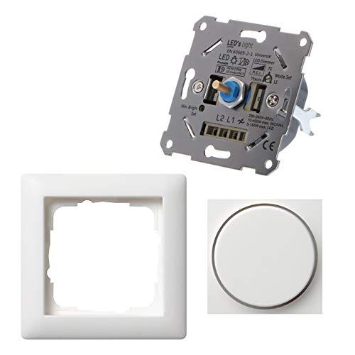 Regulador universal para lámparas regulables como set completo con Gira S.55 blanco mate. 3-150 W LED/10-400 W Hal./incand. Regulación corte de fase inicial y final. Garras de fijación