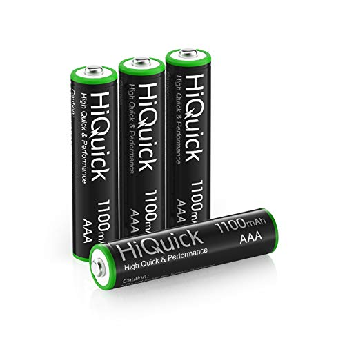 HiQuick Micro AAA Akku 1100mAh - NI-MH wiederaufladbare Batterien 1,200 Zyklen, geringe Selbstentladung - 1,2V AAA Batterien 4 Stück