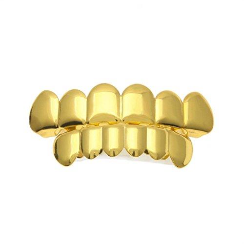 Dental Braces, Exteren 1 Set Men Women Gold Plated Hip Hop Teeth Grillz Top Bottom Grill Teeth Grills (Gold)