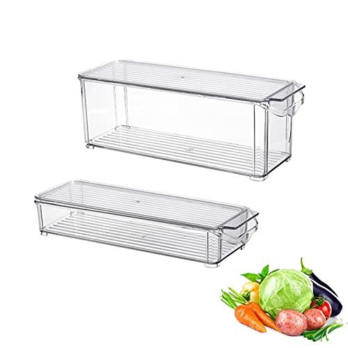 Fonduo - Bandeja de almacenamiento para nevera con tapa – Paquete de 2 bandejas de plástico para alimentos – Organizador de nevera con asas integradas – Transparente (1,5 L + 3 L)