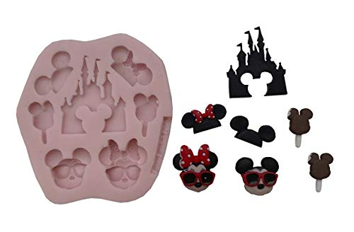 MICKEY MOUSE MINNIE MOUSE VACATION,((MEASUREMENTS SECOND PICTURE/NO RETURNS)) Silicone Mold By Oh! Sweet Art