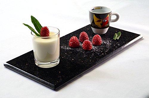 2 x Servierplatte - Servierteller - Vorspeisenplatte - Dessertplatte rechteckig aus poliertem STAR Galaxy Granit - je 30x15cm - Handarbeit