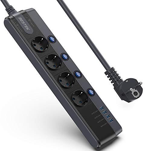 BESTEK Schaltbare 4 Fach Steckdosenleiste Mehrfachsteckdosen Steckerleiste mit 4 USB und 900J Überspannungsschutz und Blitzschutz Schwarz 3600W