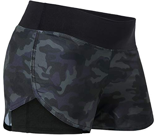 Kimmery Girls Volleyball Shorts Youth, Dries Quickly Leisure Fitness Running Outfits Girl School Gym Casualwear Crop Pants Black Camo XS