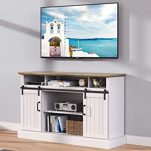 Furnimics Farmhouse TV Stand for TVs up to 65 Inch,Sliding Barn Door TV Stand for Living Room, Bedroom, White Entertainment Center TV Stand Cabinet with Adjustable Shelves&Cable Management, FMWTS01W