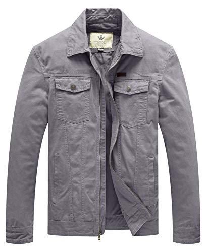 WenVen Men's Military Filed Cotton Anorak Jackets Workwear(Light Grey,3XL)