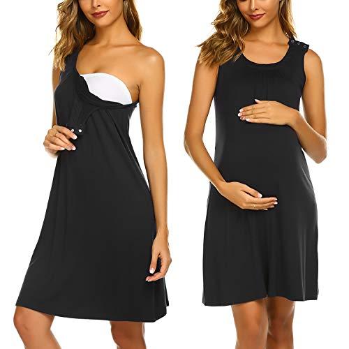 Ekouaer Women's Maternity Dress Sleeveless Nursing Nightgown for Breastfeeding Sleepwear Black