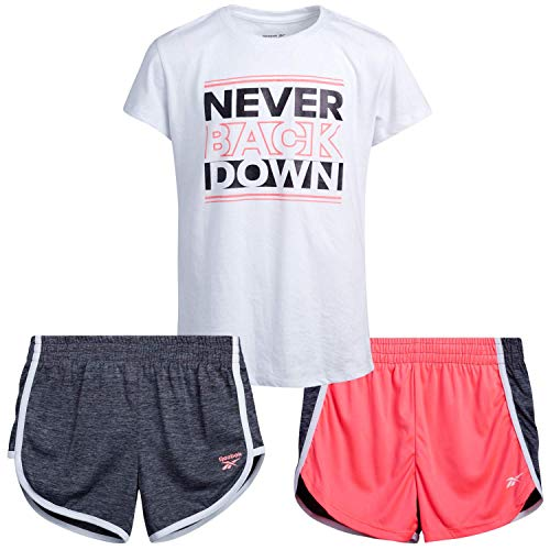 Reebok Girls' Activewear Set - Short Sleeve Performance T-Shirt and Gym Shorts Kids Clothing Set (3 Piece), Size 6X, Neon Coral/Black/White