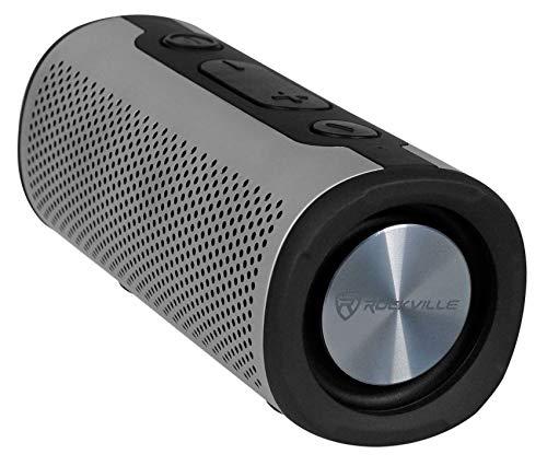 Rockville Portable Waterproof Bluetooth Speaker for Audiophiles, Silver (ROCK LAUNCHER SL)