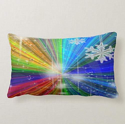 perfecone Home Improvement Funda de almohada color Explosión con copos de nieve y estrellas para sofá y coche 1 paquete de 19.68 x 25.6 pulgadas / 50 cm x 65 cm
