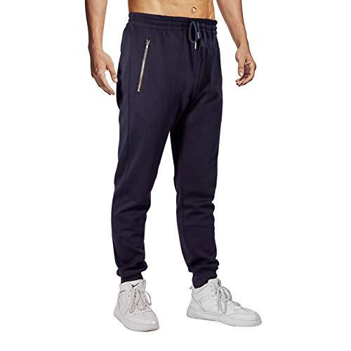 Herren Hosen Jogginghose Slim Fit Jogger Hose mit Reißverschlusstaschen Baumwolle Cargo Hose Sporthose Freizeithose Trainingshose (Blau, L)