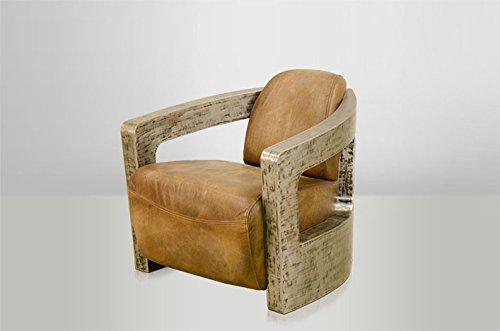 Casa Padrino Art Deco Echt Leder Sessel Mars Echt Leder Beige/Vintage Silber - Club Sessel - Lounge Sessel