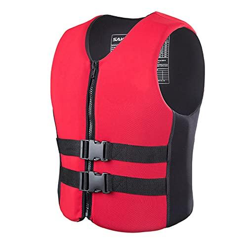 HLYT-0909 Chaleco salvavidas para adultos/niños, chaleco de flotación ajustable Mutifunctional, ayuda a la natación, barco, vela, flotación de neopreno, rojo, 3XL
