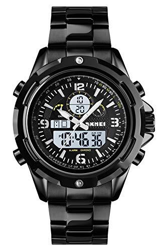 Herren Digital Armbanduhr Edelstahl Armband Schwarz Silber LED Hintergrundbeleuchtung Wecker Stoppuhr Datum Kalender Wasserdicht Männer Uhr