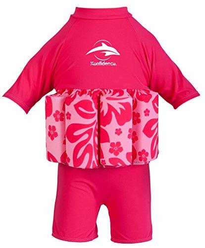 Konfidence Float Suit T-Shirt für Kinder mit integrierter Schwimmhilfe Rosa Pink/Hibiscus 4-5 Jahre
