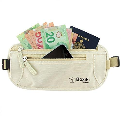 Money Belt - RFID Blocking Money Belt | Safe Waist Bag, Secure Fanny Pack for Men and Women by Boxiki Travel. Fits Passport,...