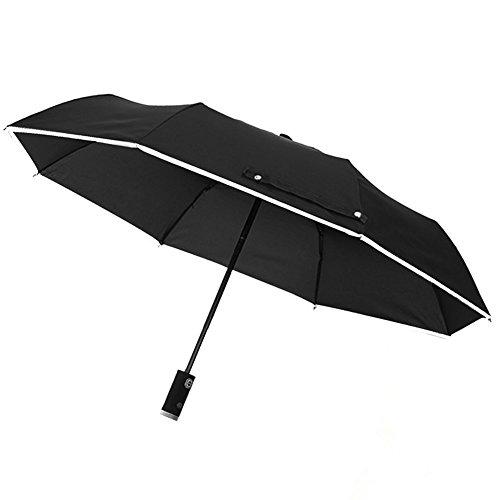 Automatic Regenschirm Taschenschirm mit LED-Griff, Reflektierende Reversible Regenschirm Falten Sicherheit -Rain und UV-Schutz Winddicht Wasserdicht (Schwarz)