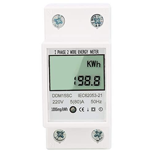 Piacere d'estate Contatore di KWh, 5-80A Misuratore di energia digitale di buona affidabilità Contatore di KWh elettronico, piccolo per una precisione di primo grado 50/60Hz