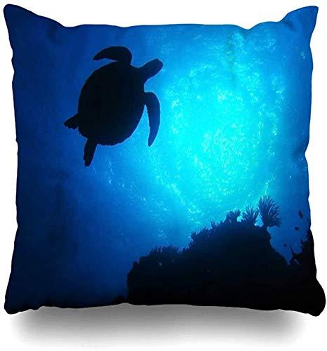 BONRI Throw Pillow Cover Dive Australia Green Turtle Swimming Blue Turtle Oceangreat Nature Cairns Sea Loggerhead Design Funda de Almohada para el hogar Cuadrado Decorado con Cremallera 16x16pulgada