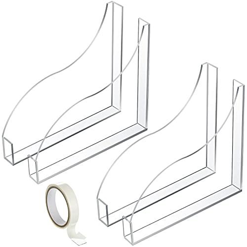 2 Sets of Acrylic Bath Tub Splash Guards Bathtub Shower Splash Guard Clear Acrylic Corner Guards with 1 Roll of Transparent Acrylic Adhesive Tape for Bathtub Tub