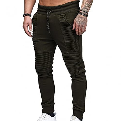 WXZZ Plissee - Pantalones de chándal para hombre, de algodón, largos, pantalones de chándal, corte ajustado, estilo informal, para correr, de un solo color, bajos ajustados, Verde militar., L