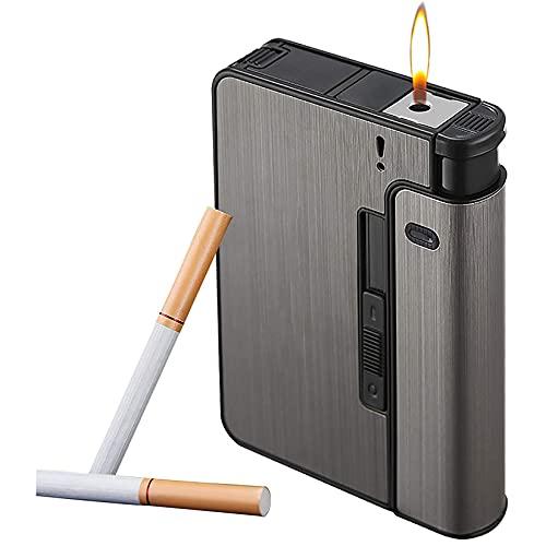 HHYHOME Estuche para Cigarrillos 2 En 1,Cigarrillos De Expulsión Automática, Resistente Al Viento Y A La Humedad, Fácil De Reemplazar,para 9 Cigarrillos Regulares,Regalos De Cigarros para Hombres,A
