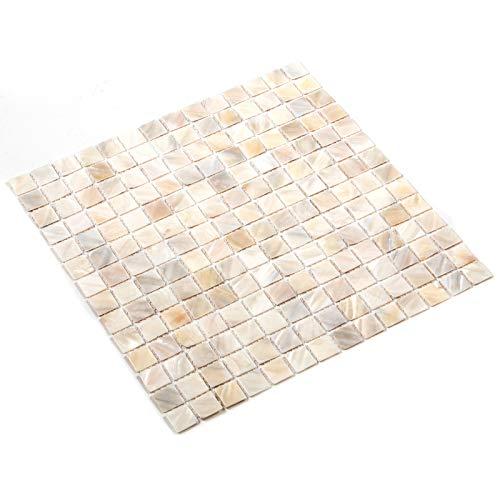 VEVOR Baldosas de Mosaico, 11 pcs Mosaico de Vidrio en Malla de Nácar, 12' x 12', 2 mm de Espesor Azulejos de Vidrio Mosaico para Sapas, Piscinas, Cocinas, Baños Salpicaduras y Paredes Decorativas