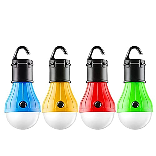 Zhibek 4Pc LED Tent Lights,Portable Hanging Camping Lights with Clip Hook, Compact Bulb Fishing Lantern Lamp for Camping Hiking Backpacking Fishing Outage Emergency