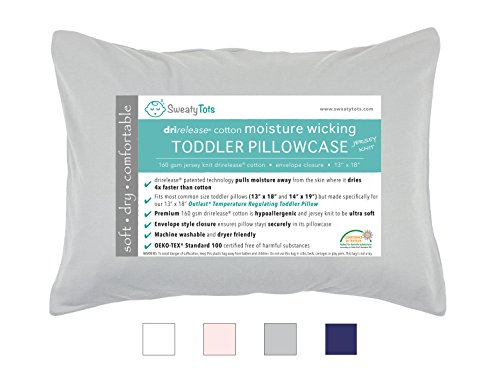 Moisture Wicking Toddler Pillowcase for Sweaty Sleepers - Fits 13 x 18 and 14 x 19 Pillows, Envelope Style Pillow Cover, Features Patented Drirelease(R) Moisture Wicking Technology (Gray)