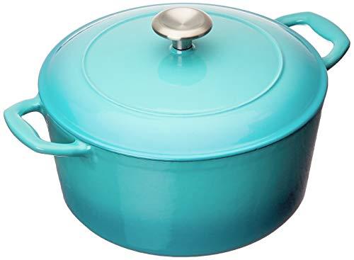 Tramontina 80131/036DS Enameled Cast Iron Covered Round Dutch Oven, 5.5-Quart, Medium Blue