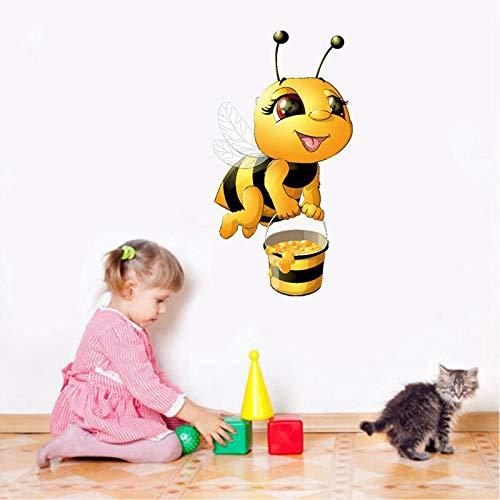Zelfklevende muurstickers voor de muur, motief: honing van de biene van het kind, zelfklevend, decoratie voor slaapkamer, kinderkamer, milieuvriendelijk behang van PVC, 42 x 22 cm