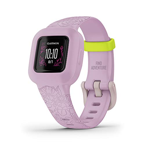 Garmin vivofit jr. 3, Fitness Tracker for Kids, Includes Interactive App Experience, Swim-Friendly, Up To 1-year Battery Life, Lilac Floral, adjustable watch (010-02441-21)