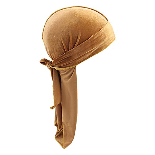 Milageto Sombrero de Bandana de Terciopelo Sólido para Hombres Transpirables Gorra de Turbante Durag Headwear - Caqui, tal como se describe