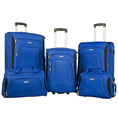 Merax Newest Softshell Deluxe Expandable Rolling Luggage Set,  Blue/Black,  5 Piece