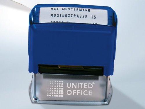 Textstempel Firmenstempel Adressstempel blau Stempel für Papier und Textilien - waschfest bis 90 °C