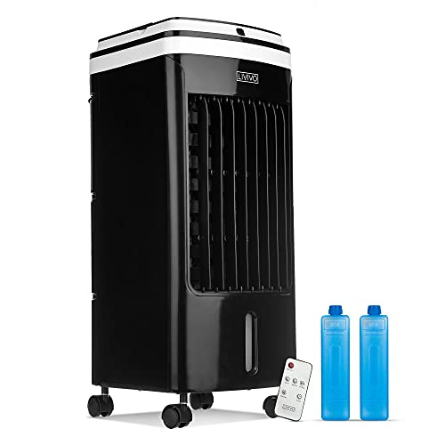LIVIVO Portable Powerful Evaporative Air Cooler AC With Remote Control - Anti Dust Filter - 3 Speed Settings - 120° Oscillating Swing Function (4L AIR COOLER BLACK)