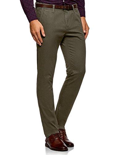 oodji Ultra Homme Pantalon Chino avec Ceinture, Vert, 38