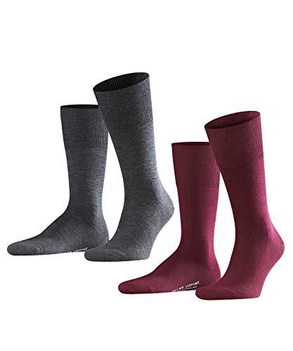 FALKE Herren Socken Airport 2-Pack, Merinowolle/Baumwollmischung, 2 Paar, Rot (Barolo 8596), Größe: 47-48