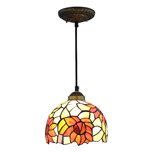 8-Inch Tiffany Chandelier Sunflower Shade for Bedroom Hallway Ceiling Chandelier