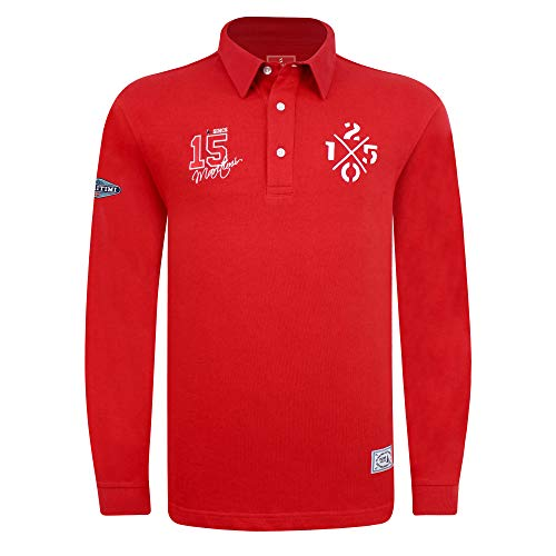 SAVALINO Men's Long Sleeve Polo Sailing Rugby Shirt with Twill Collar, Heavy Jersey, Sport & Leisure Wear Red